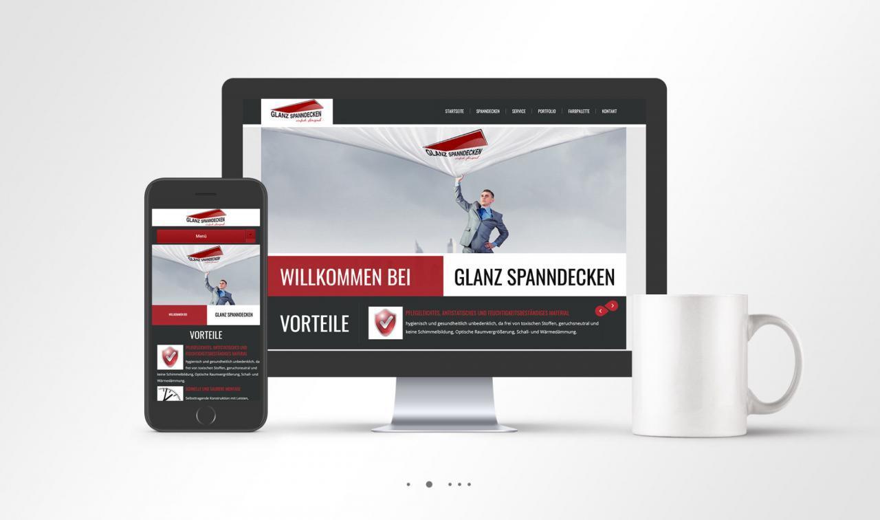 Glanz Spanndecken Unternehmen Webseite